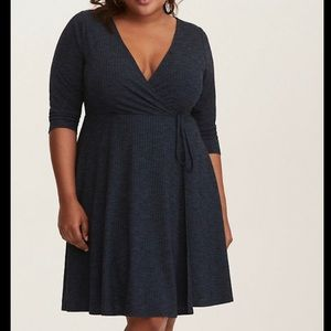Torrid Faux Wrap Dress with Plunging Neckline